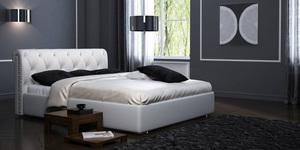 """Кожаная кровать """"Леон"""" Blanco"""