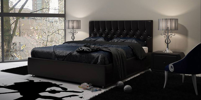 """Кожаная кровать """"Верона"""" Cardova Negro S"""