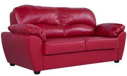 "Диван ""Эвита"" прямой | Натуральная кожа - Bellagio Scarlet Red"